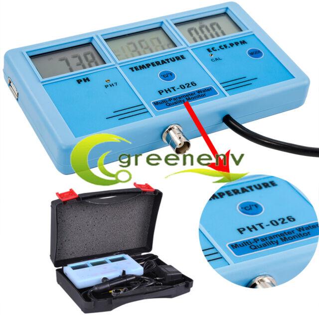 6in1 LCD PH PPM EC CF TDS Tem Water Tester Hydroponic Aquarium Lab Meter Digital