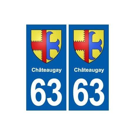 63 Châteaugay blason autocollant plaque stickers ville -  Angles : droits