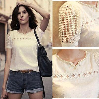 White Slim Lace Pearl Blouse Chiffon T-Shirt Women Short Tops