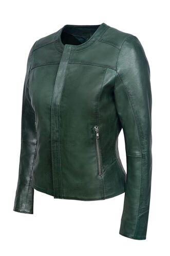 Mesdames vert foncé mode chic luxe véritable italien soft nappa veste en cuir
