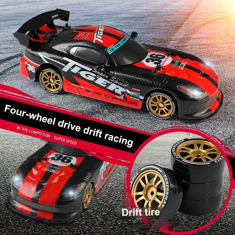RC Drift Car LED Light USB Charge 2.4G High Speed Remote Control Racing Durable