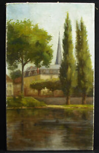 HST-vue-d-039-un-clocher-au-bord-de-l-039-eau-c1900-anonyme-55cm-paint-gout-Barbizon