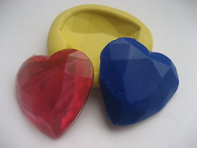 Gemstone heart 26mm flexible silicone mold for fondant chocolate clay & more
