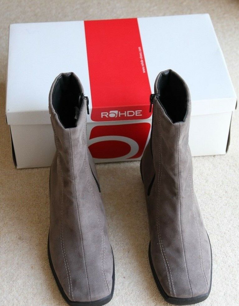 New Rohde size 7 flat light brown grey suede look sympatex ankle boots cost