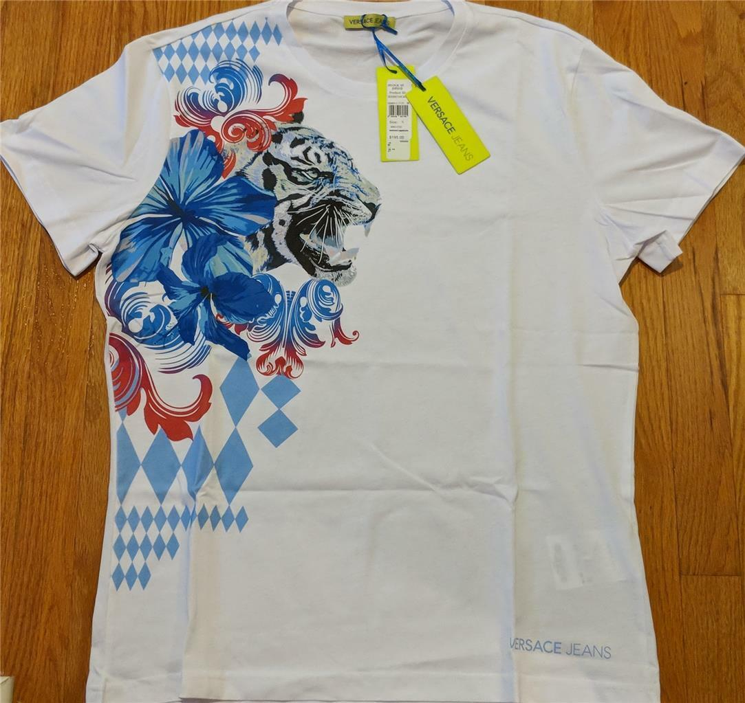 Herren Authentic Versace Jeans Tiger Floral Print T-Shirt Weiß XL 195