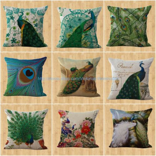 wholesale 9pcs peacock feather cushion cover washable throw pillow covers