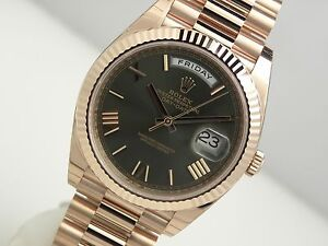Rolex-Day-Date-228235-President-40mm-Everose-Gold-Olive-Green-Roman-Dial