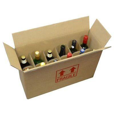 Strong DW Cardboard 12 Bottle Wine Storage Postal Boxes 540 x 190 x 350mm Qty 5