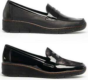 Rieker-53732-00-Ladies-Genuine-Leather-Black-Slip-On-Wedge-Heel-Loafers-Shoes