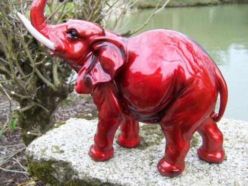 61202  FIGURINE  STATUETTE   ELEPHANT ROUGE DESIGN 29 CM PROMO DERNIER .........
