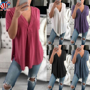 Women-Summer-Short-Sleeve-Loose-Top-Blouse-Ladies-Casual-Tops-T-Shirt-Plus-Size