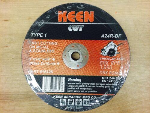 """8/""""x1//8/""""x5//8/"""" METAL//STAINLESS CUT-OFF WHEEL A24RBF KEEN KN3-16122-5"""