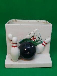 Vintage Lefton Retro Bowling Planter 2973 Ceramic 3 pins and ball