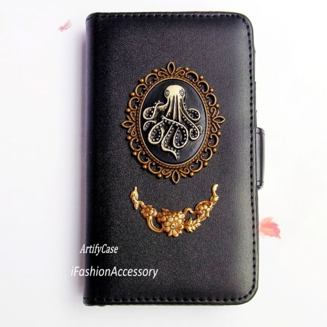 Gothic Octopus phone wallet flip case Card Stand cover For iPhone 4S 5 5C 6 Plus