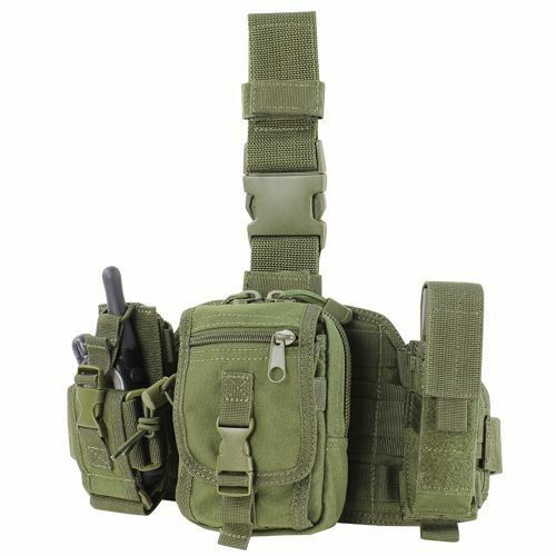 CONDOR MA25-001 MOLLE Tactical Utility Drop Thigh Leg Rig w  3 Pouches Olive OD