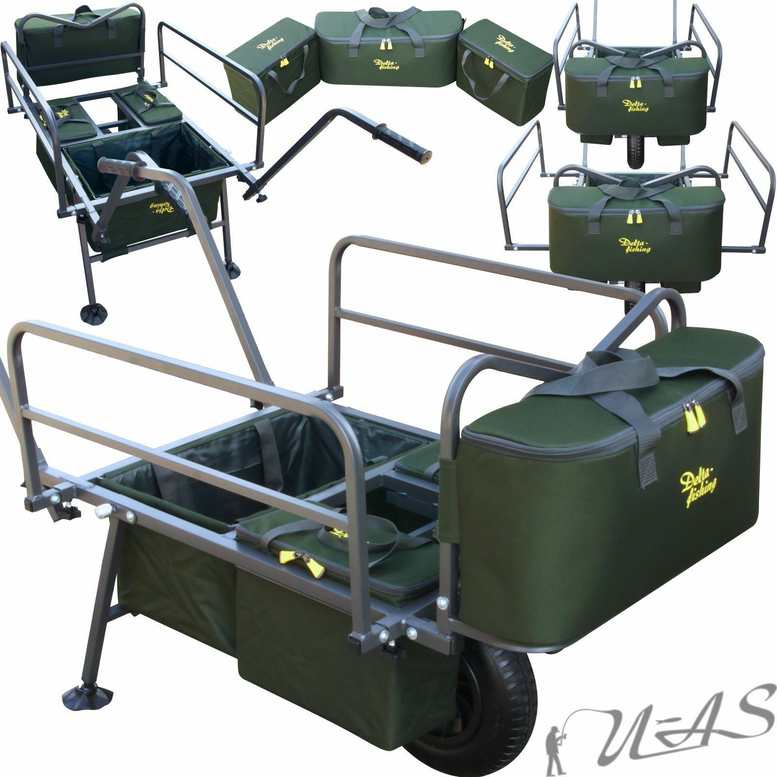 DELTA Fishing XL Trolley Prestige 4 X TASCHE CARP Barrow Angel Trolley Carrello SHA