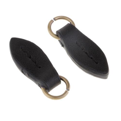 2 Stück Reißverschluss Anhänger Leder Reißverschluss Zip für Jacke