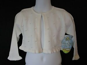 NWT AMERICAN PRINCESS WHITE SWEATER W/ LOADS OF PEARL ACCENTS & RUFFLES BOUTIQUE