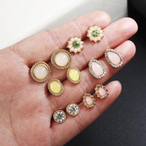 Bohême Géométrique Cristal Boucles D/'oreilles Clous Set Fashion Jewelry Cadeaux de Noël