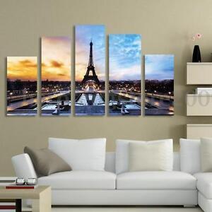 5-Panels-Eiffel-Tower-Paris-Canvas-No-Frame-Print-Wall-Art-Oil-Painting-Decor