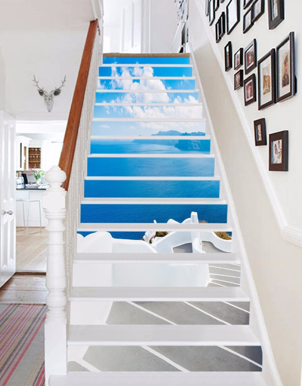 3D Sea View House 71Stair Risers Decoration Photo Mural Vinyl Decal Wallpaper AU