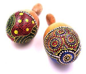 Lot de 2 Maracas Bois Peint Artisanat Maraca Set