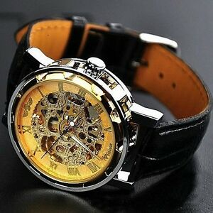 Classic-Men-039-s-Gold-Dial-Skeleton-Black-Leather-Mechanical-Sport-Army-Wrist-Watch
