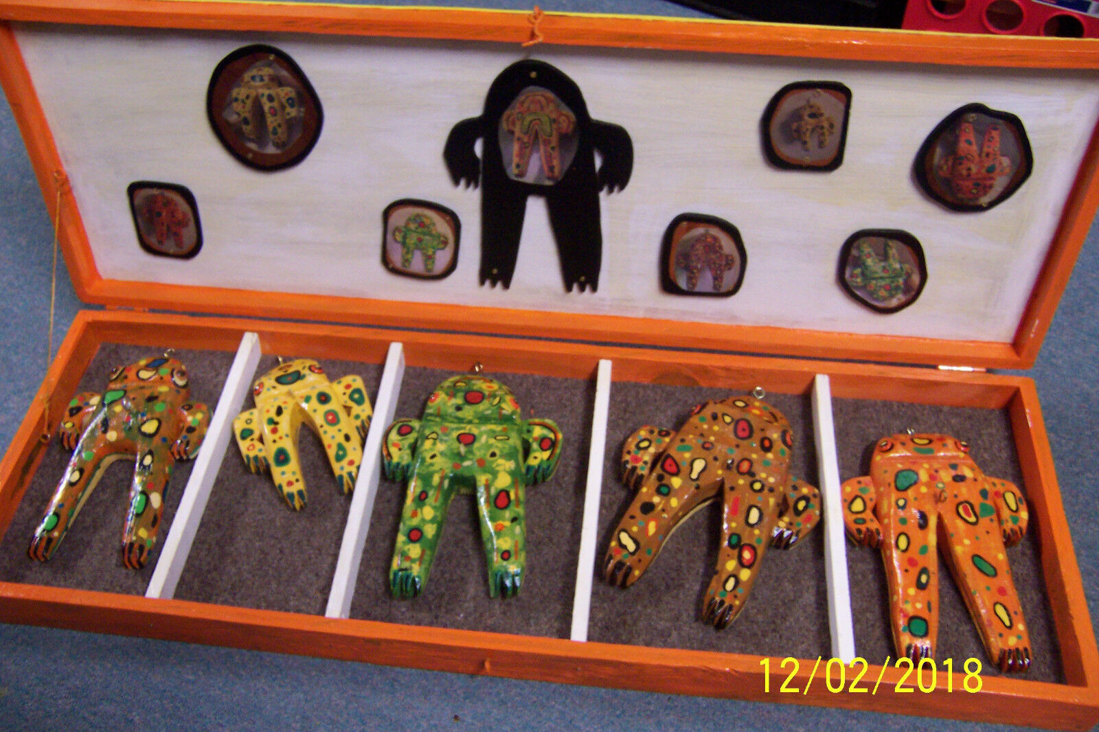 FLORIDA 5 BULL FROG FISHING LURES IN A COLLECTOR'S BOX by Artisan JIM SCHEIBNER