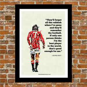 Manchester United Man Utd George Best Quote Framed Art Print Ebay