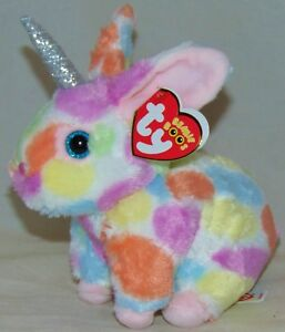 New! 2019 Ty Beanie Boos BEGONIA tie dyed Bunny Rabbit w horn 7 ... 3679bd37d105