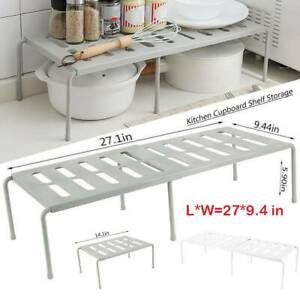 Support-reglable-organisateur-support-garde-manger-stockage-d-039-etagere-placard-ME