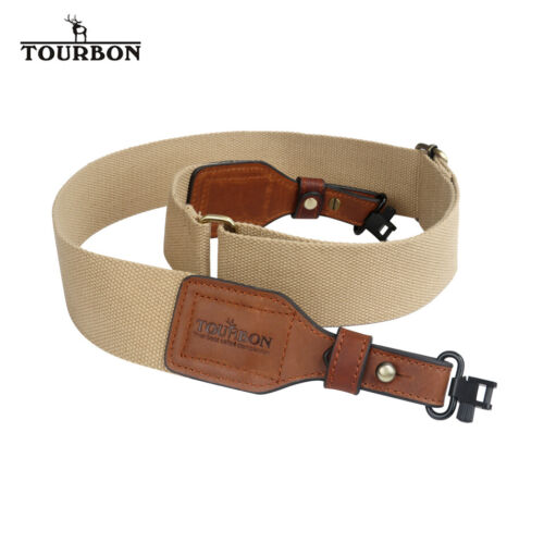 "TOURBON 2/"" English Canvas Leather Rifle Shotgun Sling with Detachable Swivels"