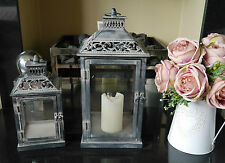 Set Of 2 Metal Lanterns French Country Vintage Style Candle Holders Shabby Chic