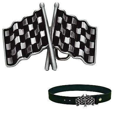 * Racing Checkered Flags Speed Shop Flaggen Gürtelschnalle Buckle *485