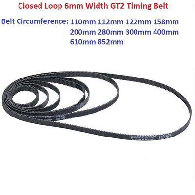 GT2-6mm Rubber Timing Belt for 3D Printer 110//112//158//200//280//400//852//mm
