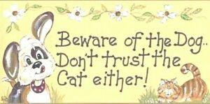 Attenzione-al-cane-non-fidatevi-del-gatto-sia-Divertente-Muro-Porta-Segnale-Placca-Regalo