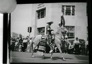 Vintage 1938 Photo Negative Man Riding Horse In Parade 4th Street
