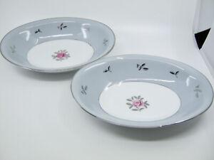 2 Pcs Seyei Bella Maria Oval Vegetable Bowls Gray Band Pink Roses Japan