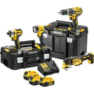 DeWalt-18V-XR-Brushless-Combi-Drill-Impact-Driver-Multi-Tool-amp-Torch-4-Piec