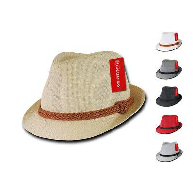 1 Dozen Decky Black Fedora Panama Fashion Hats Paper Straw Unisex Wholesale Lots