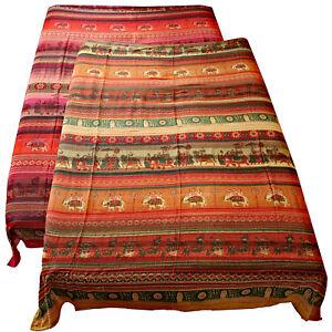 Tagesdecke-Baumwolle-Bettueberwurf-Wandbehang-240x210cm-Rot-Orange-Indien-Sultan