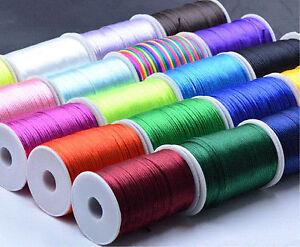 2mm 10/100yd Durable Satin Rattail Trim Macrame Beading Nylon Cotton String Cord