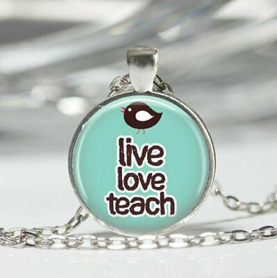*UK* 925 SILVER PLT /'TEACH LOVE INSPIRE/' PENDANT NECKLACE STUDENT TEACHER SCHOOL