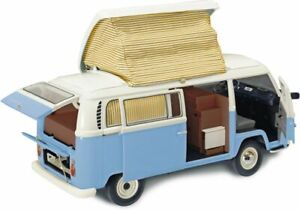 SCHUCO-00435-VW-T2A-CAMPER-VAN-diecast-model-blue-and-white-opening-doors-1-18th