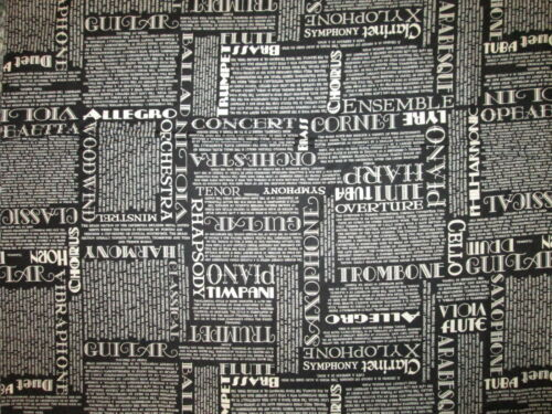 MUSIC WORDS CONCERT PIANO ORCHESTRA JAZZ BLACK COTTON FABRIC FQ