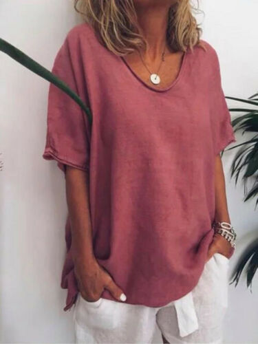 Womens Casual Plain Baggy Loose T-Shirt Tops Ladies Summer Oversized Blouse 6-24