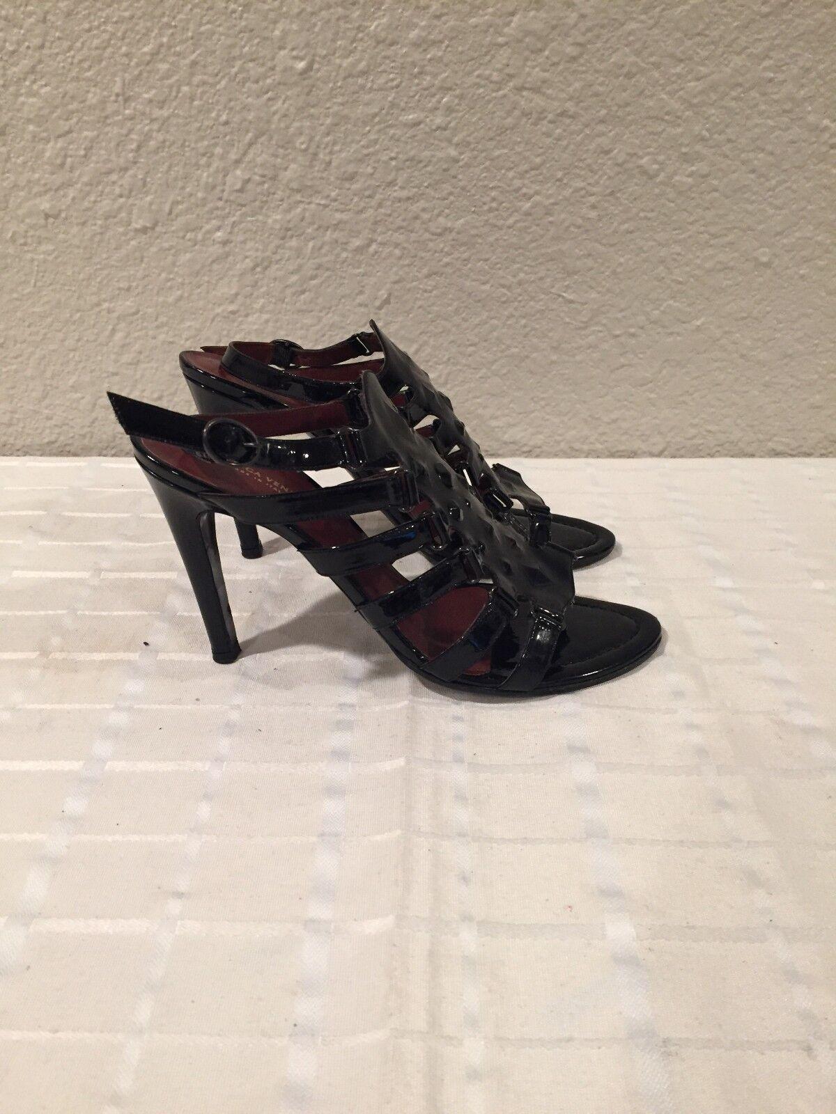 Bottega Veneta Black Patent Patent Patent Leather Ankle Sandals 39.5EU 8.5-9US Made in  f2f5b0