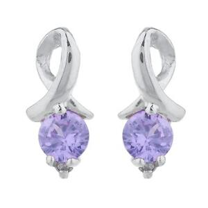 14Kt White Gold Alexandrite Heart Stud Earrings