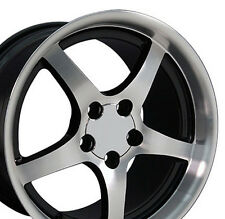 "18"" 9.5/10.5 Black Corvette C5 Style Deep Dish Wheels Rims Fit Camaro"