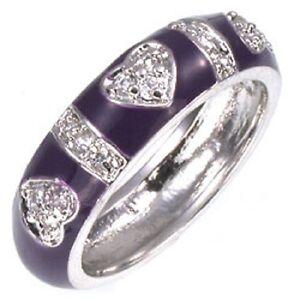 Sterling-Silver-Purple-Enamel-CZ-Hearts-Ring